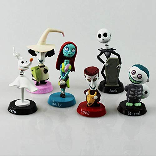 6 unids / Set Pesadilla Antes de Navidad Henry Selick Clay animación Jack Sally Shock Zero Head Knock Bobble Head Figura Juguetes