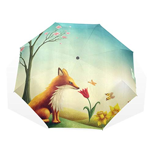 LASINSU Regenschirm,Handgemalter Muster Traumfuchs der Karikatur unter dem Pfirsich Baum schönen Schmetterling,Faltbar Kompakt Sonnenschirm UV Schutz Winddicht Regenschirm