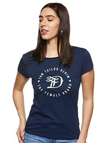 TOM TAILOR Denim Damen Basic Logo Tee T Shirt, Real Navy Blue, L EU