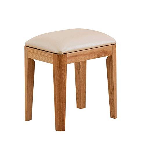 SPRINGHUA Taburete para maquillaje con patas de madera, asiento tapizado, fácil de combinar (color, tamaño: 40 x 30 x 45 cm)