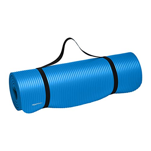 Amazon Basics Extra Thick Exercise Yoga Gym Floor Mat with Carrying Strap - 74 x 24 x .5 Inches, Blue