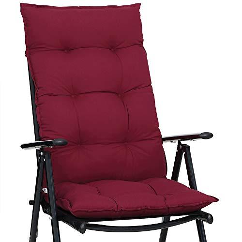 Detex Stuhlauflage 129 x 53 cm Viskoeffekt Indoor Outdoor Stuhlkissen Polsterauflage Hochlehner Sitzauflage dunkelrot