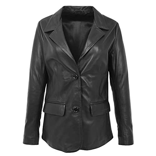 HZG Blazer Shirley de cuero para mujer con dos botones, color negro