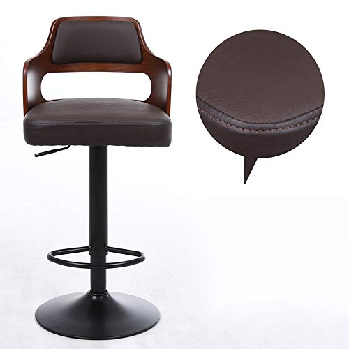 Barstools-BYTGK Barhocker Kuhfell Sitz und Holz Zurück Barhocker Swivel Höhenverstellbare Arbeitshausstühle Zähler Kurklinik Salon J1031 (Color : Brown Cowhide Black Leg)