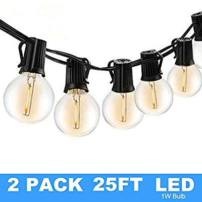 25Ft G40 Globe String Lights with Clear Bulbs,Backyard Patio Lights,Hanging String Lights for Bistro Pergola Deckyard Tents Market Cafe Gazebo Porch Letters Party Decor Indoor Outdoor (2 pack)