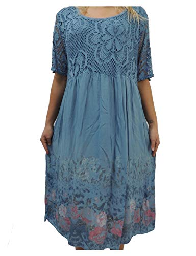 Nowingline Schöne Farben zur Auswahl Damen Kleider Größe 46 48 50 52 54 mit Blumenmuster (Jeansblau)
