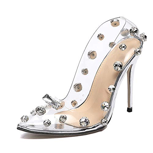 Kimcc Design Rivet Transparent Hoher Absatz, PVC Transparent Hochzeit Pumps Schuhe Hoher Absatz, 11,5 cm Transparent Sexy Night Club Femme Schuhe, Für Dating/Party/Dance/Bride/Party Hochzeit,35