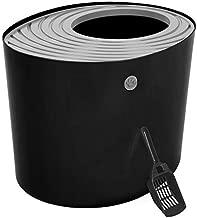 IRIS Top Entry Cat Litter Box with Cat Litter Scoop, Black & Gray