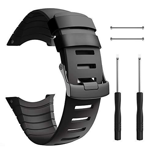 ANBEST Braccialetto in TPU Compatibile con Suunto Core Cinturino, Cinturino di Ricambio Cinturino Sportivo con Fibbia a Vite per Suunto Core Smart Watch, Nero