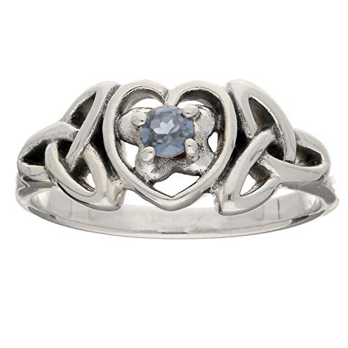 March Birthstone Ring - Sterling Silver Aquamarine Celtic Trinity Knot Heart(Sizes 3,4,5,6,7,8,9,10,11,12,13,14,15) (12)