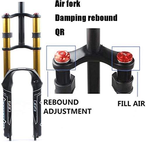 LIMQ Horquilla De Suspensión para Bicicleta De Aire 26/27.5/29' MTB Doble Hombro Descenso Descenso Amortiguador Recorrido 130 Mm Amortiguador Freno De Disco QR DH/Am/FR,B-Gold-27.5in