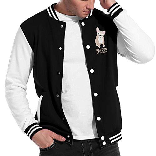 Pardon My Frenchie Men's and women's Baseball Uniform Jacket Varsity Long Sleeves Sweater Sweatshirt Black