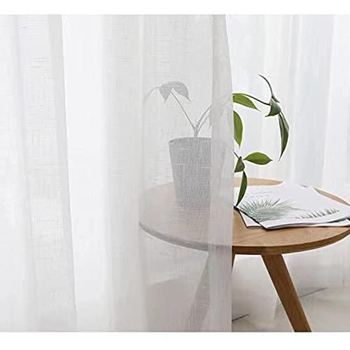 Dido´s Cortinas habitación Blancas salón Modernas translucidas de Lino y poliéster, Visillos con Ojales para Barra Dormitorio Comedor Cocina Sala Cuarto (200 cm x 270 cm)