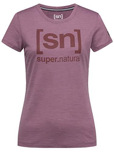 super.natural Bedrucktes Damen Kurzarm Shirt, Mit Merinowolle, W ESSENTIAL I.D TEE, Größe: S, Farbe: Brombeer/Bordeaux meliert