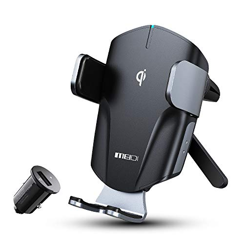 MEIDI Cargador inalámbrico para el coche, 10 W, Qi, inalámbrico, con función de carga, interruptor táctil que bloquea o abre automáticamente.