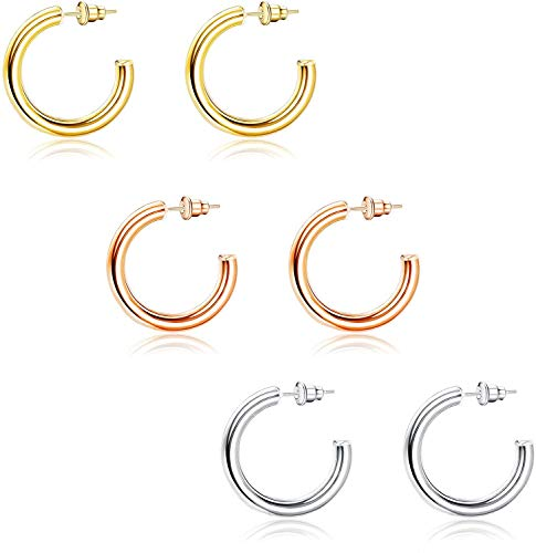 Adramata 3Pairs 14K Gold Plated Hoop Earrings For Women 4mm Thick Chunky Open Gold Hoops Earrings Lightweight Tube Hoop Loop Earrings for Women 30/40/50MM