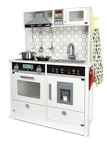 Leomark White Modern Cocina eléctrica Madera Infantil con Accesorios: Campana Extractora, microondas - Color Blanco - Juguete para Niños Efectos de Sonido de iluminación Dim: 65x30x94 (Altura) cm