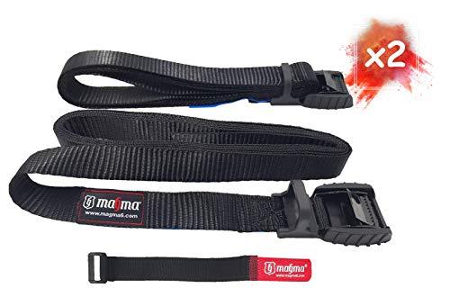 MAGMA Pack 2 Cinchas de Amarre de 3m | Correas para Baca Coche y Portabicicletas. Surf, Bici, Kayak, Moto | Hebilla -Trinquete con Protección de Goma para no rayar | Carga Segura - SWL: 250kgf Negro