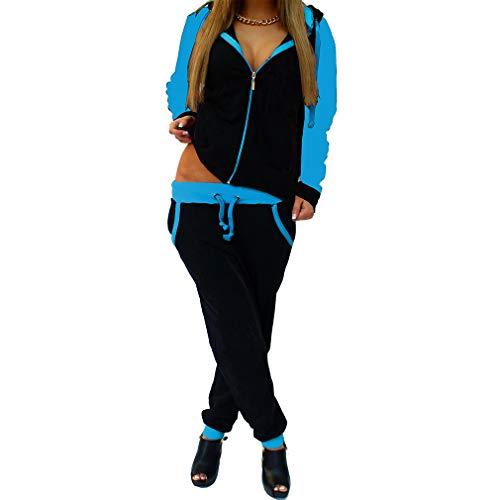 WEIMEITE Trainingsanzug Langarm Reißverschluss Jacke Hosen Trainingsanzüge Kontrastfarbe Joggings Anzug Yoga Gym Workout Outfit