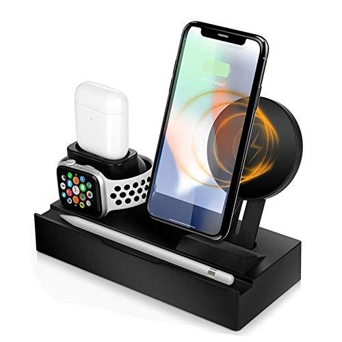 LAHappy 3 en 1 Cargador Inalámbrico Rápido, 10W Cargador Rápido Inducción, Qi Compatible, Wireless Quick Charger para iPhone 11/11 Pro MAX Apple Watch AirPods