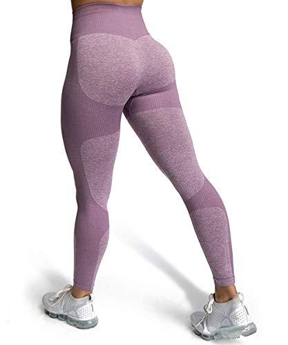 ShinyStar Damen Sport Leggings Lange Blickdicht Yoga Leggings Kompressions Figurformende Sporthose Fitnesshose mit Hohe Taille Lila M