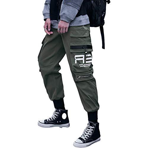 Pantalones Harem Informales para Hombre, Bolsillos Grandes, Estampado de Letras, Pantalones Holgados con pies de Haz Informal, para Caminar, Escalar al Aire Libre Medium