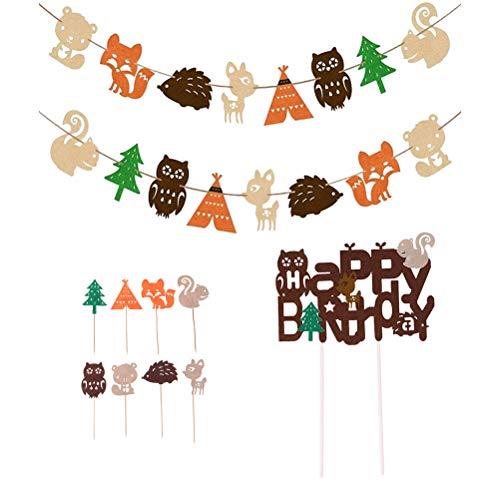 Amosfun 11 STKS Gelukkige Verjaardag Papier Banner Bos Dieren Cake Toppers Photo Prop Party Decoraties