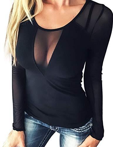 Manga Larga Corta Transparente para Mujer Blusa Camiseta Mujer Top de Manga Larga con Cuello Redondo