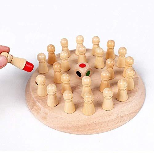 Memoria de madera redondo Partido palillo de Ajedrez, Diversión pensamiento lógico Capacitación juegos populares juguetes educativos (18 * 18 cm) Exclusivo de Colección Modelo (Color: Natural) haru