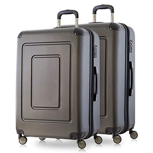 Happy Trolley - 2er Koffer-Set Trolley-Set Rollkoffer Hartschalen-Koffer Reisekoffer Lugano sehr leicht, TSA, 66 cm, 78L, (2xM), Graphit