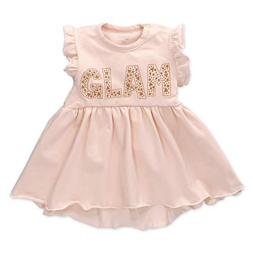 Koala Baby Mädchen Kleid in Rosa im goldenen Glam-Motiv für Neugeborene und Kleinkinder/Kinder-Kleider und Sommer-Babykleidung für Mädchen in der Größe: 3-6 Monate (68)