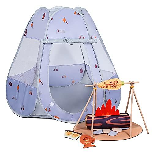 tumama Kinder-Camping-Set mit Zelt,Pop-Up-Spielzelt für Kinder,Camping-Spielzeug-Set zum Spielen,Camping-Spielzeug-Werkzeugzubehör,Lernspielzeug Geschenk für Jungen Mädchen