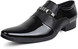T-Rock Men's Black Slip on Style Formal Shoes