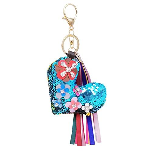 Llavero de moda con borla de cinta y colgante de lentejuelas, diseño de corazón, para mujeres y niñas, bolsa de accesorios