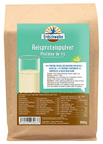 Erdschwalbe Reisprotein - Hergestellt in der EU - Veganes Eiweißpulver - 1 Kg