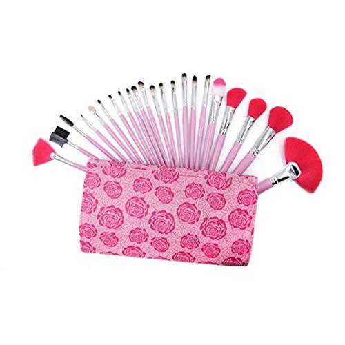 Make Up Brush Foundation Kabuki Set 22PCS - Soies synthétiques de qualité Professionnelle pour Poudre, Blush, correcteur - Parfait pour Les Produits liquides, en crème ou minéraux,Pink