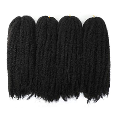4Packs Marley Hair Afro Kinky Twist Crochet Braids Hair Long Marley Braiding Hair 100% Kanekalon Synthetic Twist Hair Extensions for Women
