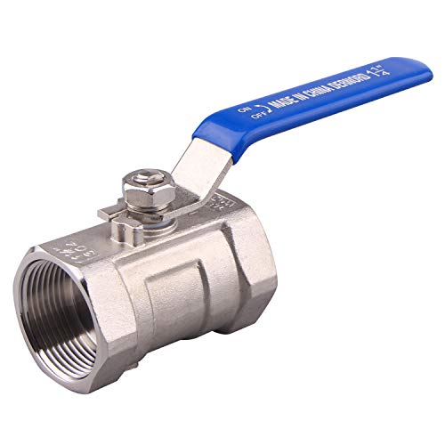 DERNORD Stainless Steel Ball Valve 1PC Type NPT Standard Port for Water, Oil, and Gas (1.25 Inch Ball Valve)