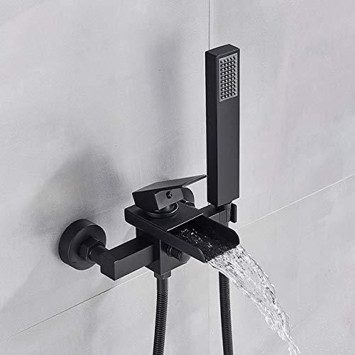 YYYes FacuetBathroom Grifo de bañera de una sola manija cascada grifo mezclador con ducha de mano montado en la pared grifo de la bañera [envío gratuito] {negro mate A}