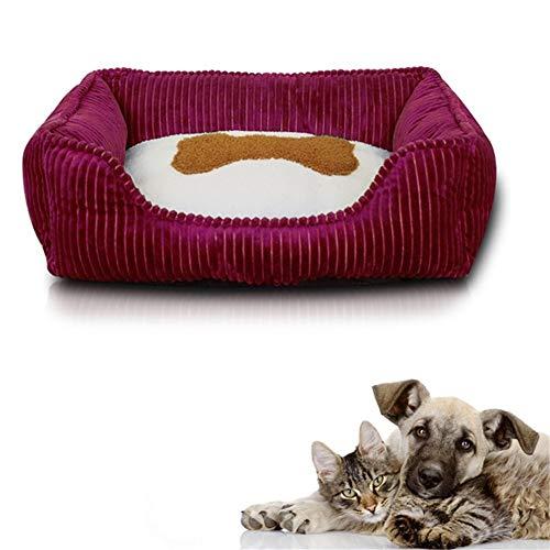 HOSui Cama Rectangular De Felpa para Mascotas Suave Y CóModa Sofá Cama para Perros Y Gatos Arena para Gatos Lavable con Fondo Antideslizante Red,Small