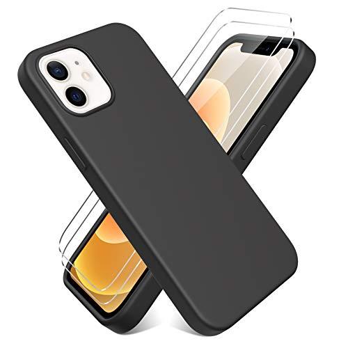 Oududianzi - Cover per iPhone 12 Mini(5.4'') + [2 Pack] Pellicola Protettiva in Vetro Temperato, Custodia Liquid Silicone TPU Cover Ultra-Sottile AntiGraffio Antiurto Case - Nero