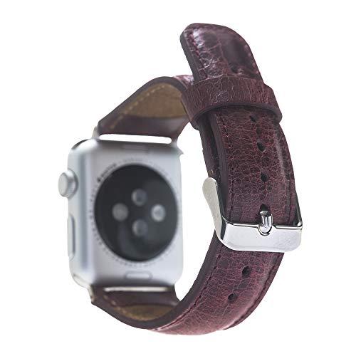 Renna - Pulsera de piel auténtica compatible con Apple Watch Serie SE, 6 y 5/4/3/2/1, hecha a mano, 44 mm, 42 mm, 40 mm, 38 mm, para hombre y mujer (42 – 44 mm, burdeos, conector plateado)