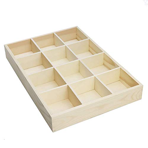 RUBY-Organizador Caja de almacenamineto Madera para joyerias Anillos Pulsera Collar Pendientes Caja de Madera Almacenamiento de Joyas con (12 Compartimentos)