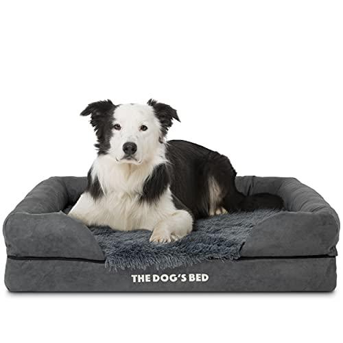 The Dog's Bed Panier orthopédique pour chien en mousse à mémoire de forme S-XXL, imperméable à l'eau, soulagement de la douleur pour l'arthrite, la dysplasie des hanches et du coude, post-chirurgie, boiterie, soutien pour animaux âgés, panier de repos lavable