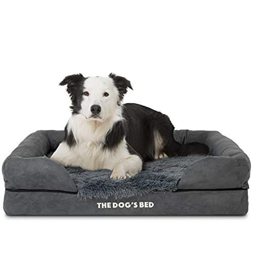 The Dog's Bed Orthopedic Dog Bed Large Grey Faux Fur 36x27, Memory Foam, Pain Relief: Arthritis, Hip & Elbow Dysplasia, Post Surgery, Lameness, Supportive, Calming, Waterproof Washable Cover