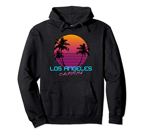 Adult Los Angeles California 80s Sunset and Palms Hoodie, 4 Colors, S to 2XL