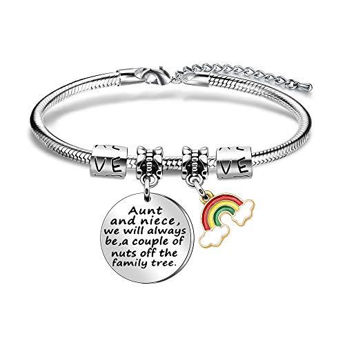 Pulsera con colgante de arco iris, regalo de tía sobrina, regalo de tía, joyería para mujer, regalo familiar, graduación, cumpleaños, regalos de Navidad