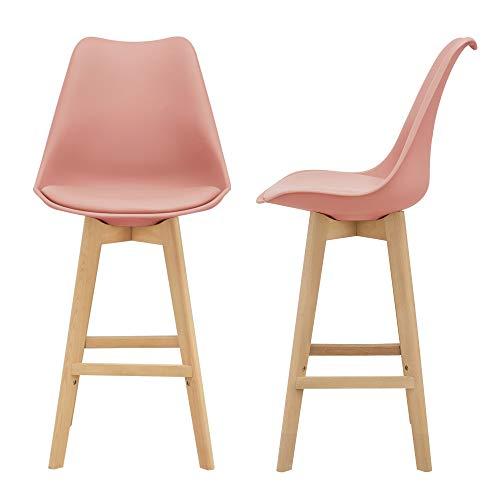 [en.casa] Juego de taburetes de Bar 105 x 48 x 58cm Set de 2X Taburetes de Cocina de diseño Asiento Acolchado Patas de Madera Haya Color Rosa