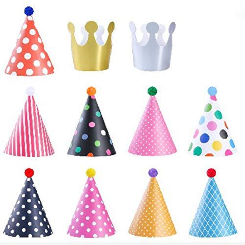 YeahiBaby Geburtstag Party Hüte Dekorationen für Kinder Erwachsene Spaß Party Favors Pack von 11