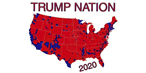 Wholesale Lot of 6 Trump Nation 2020 United States Country Map White Vinyl Decal Bumper Sticker